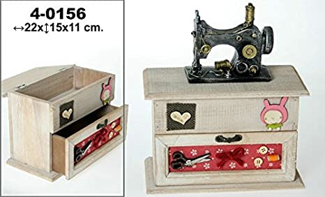 DonRegaloWeb - Costurero de madera con forma de mueble y cajón decorado con una maquina de coser y con diferentes colores: Amazon.es: Hogar