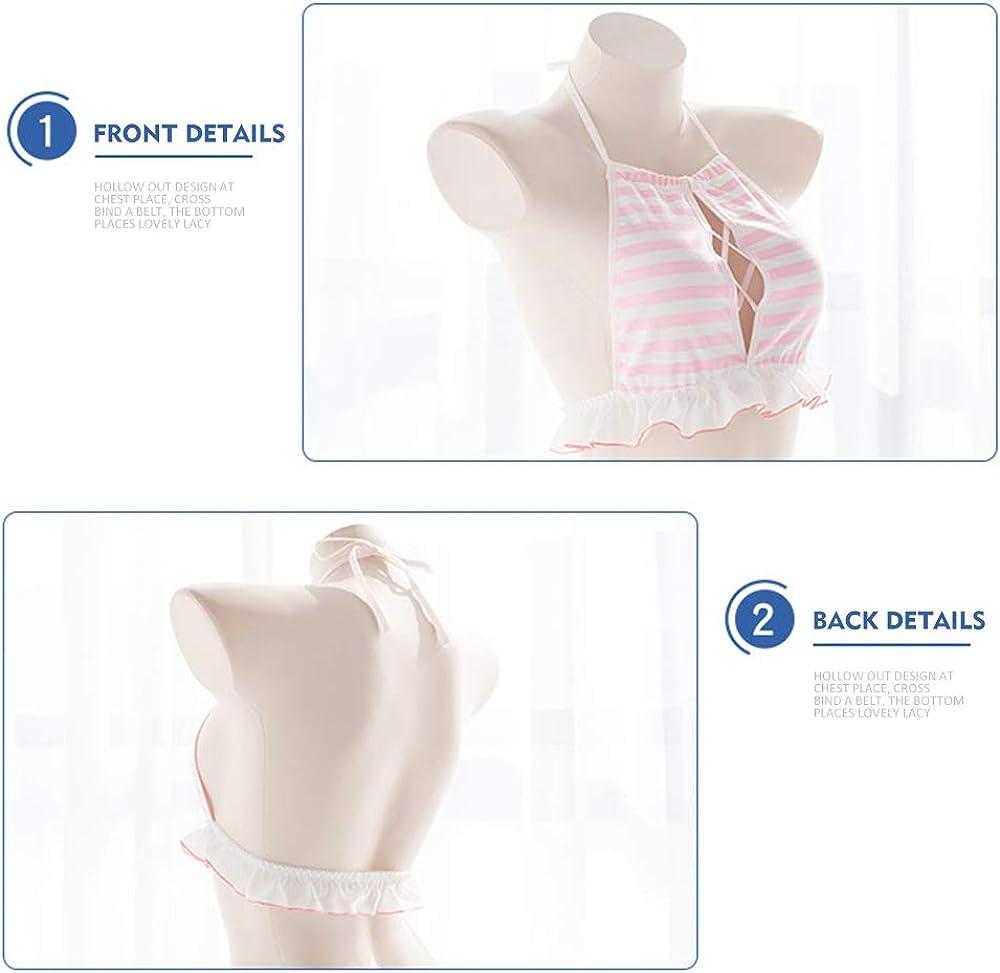 keyhole pink Womens Cute Anime Striped Bikini Girls Japanese Cosplay Bra and Panty Set Ruffle Underwear