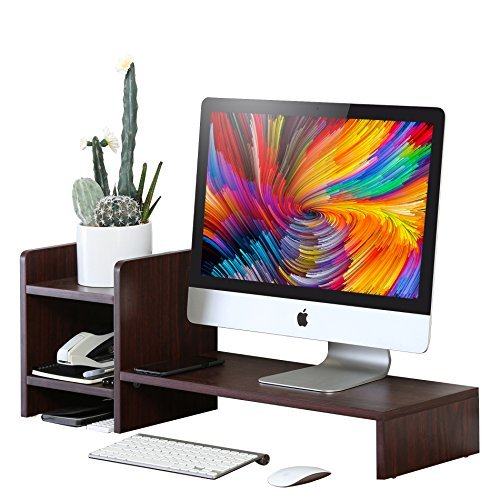 Homury Wood Computer Monitor Stand Riser Laptop Cellphone Printer Multi Media Stand with Non removable 2-tier Desktop Storage Organizer Desk Display Rack Shelf for Home Office