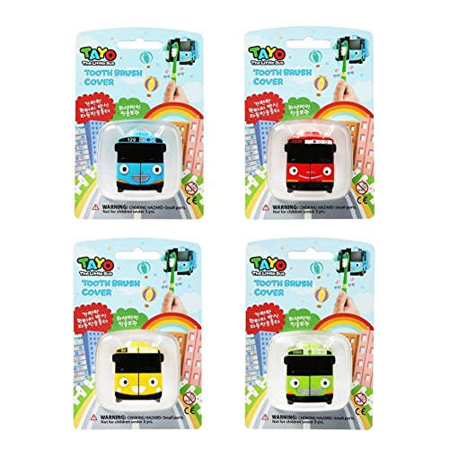 Tayo The Little Bus Character One-Touch Automatic Toothbrush Holder TV Animation Character Series 4 Pcs Set