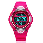 Kids LED Digital Unusual Sports Outdoor Children's Wrist Dress Waterproof Watch with Silicone Band, Alarm, Stopwatch for Girls - Rose Red