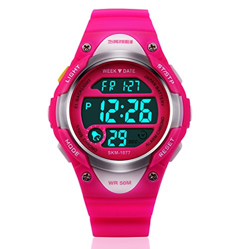 Kids LED Digital Unusual Sports Outdoor Children's Wrist Dress Waterproof Watch with Silicone Band, Alarm, Stopwatch for Girls – Rose Red