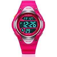 Girls Digital Watch Kids Sport Waterproof Outdoor Watches with Alarm, Stopwatch Children LED Electronic Wristwatch - Rose Red