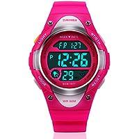 Kids digital LED Unusual al aire última intervensión deportes de los niños de la muñeca vestido reloj con banda de silicona, alarma, cronómetro impermeable para las niñas Color Rose rojo
