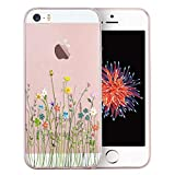 Unov Case Clear with Design TPU Soft Bumper Shock Absorption Embossed Floral Pattern Slim Protective Cover for iPhone SE iPhone 5s iPhone 5(Flower Bouquet)