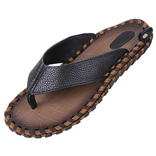 2017 summer new men leather hand slippers first layer of leather handmade sandals trend personality beach shoes Black
