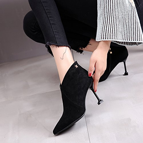 Black Martin Korean Winter Temperament Heeled Winter Fine Boots Boots Simple High Match Boot All Heeled High KPHY Boots With Boots Boots aRdxTAqwA