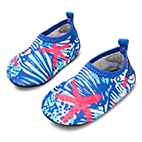 JIASUQI Baby Barefoot Swim Sports Water Skin Shoes Aqua Socks for Beach Swim Pool,Blue White 0-6 Months