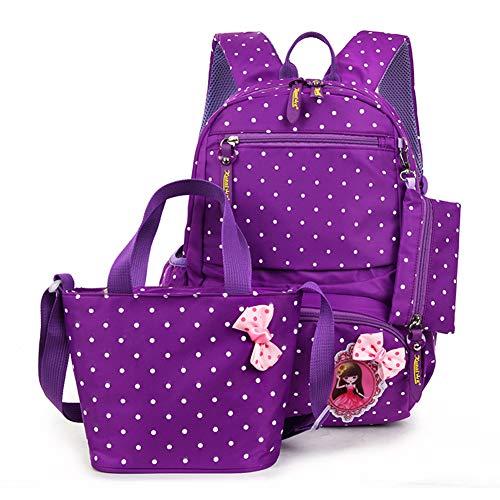 Polka Dot Bowknot Girls Kids School Backpack Book Bag Set Pouch Lunch Bag Handbag