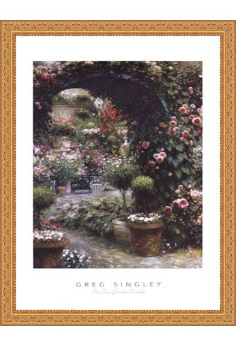 Framed The Town Garden Nursery- 27x39.5 Inches - Art Print (Ornate Gold ()