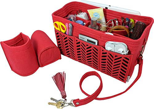 BELIANTO Felt Handbag Tote Purse Organizer Insert with Middle Insert, Bottle Holders, Key finder, D rings (Herringbone Pattern) (Large, Red) by BELIANTO