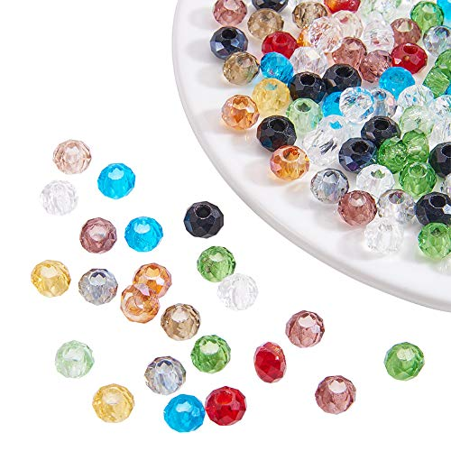 Pandahall 100PCS 8x5mm Mixed Color Faceted Rondelle Mixed Glass Large Hole Beads, Hole: 3mm ()