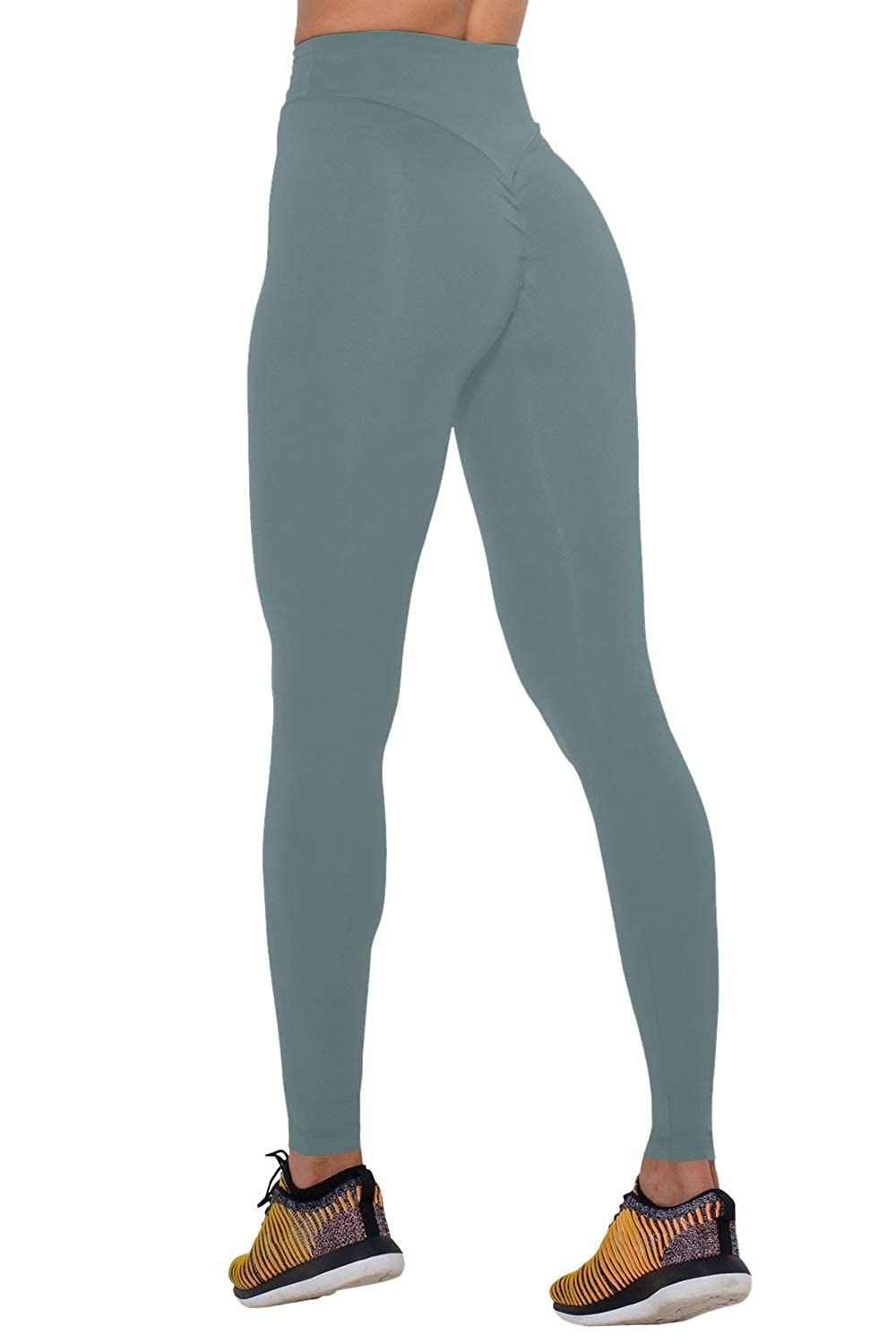 Light bluee COCOLEGGINGS Womens High Waist Scrunch Booty Lift Brazilian Workout Leggings