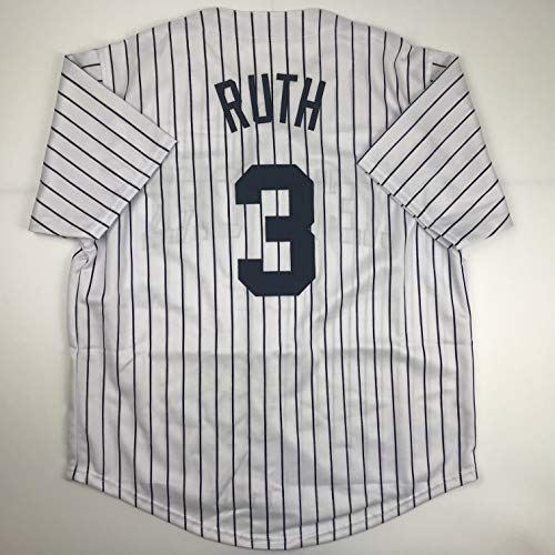 Unsigned Babe Ruth New York Pinstripe Custom Stitched Baseball Jersey Size Men's XL New No Brands/Logos ()