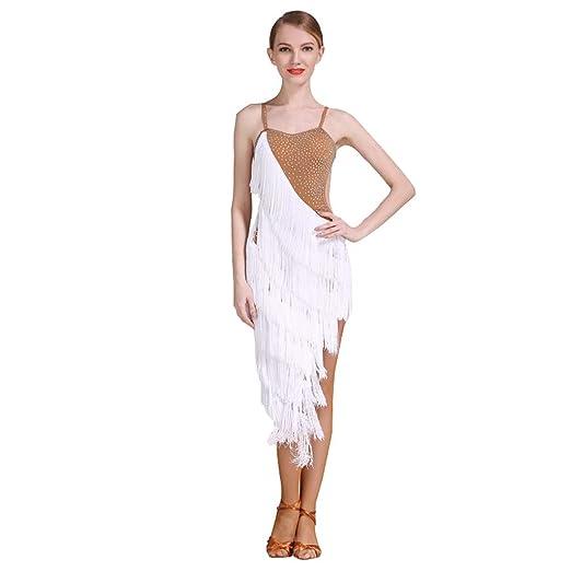 DRESSS Vestido de Baile Latino con Flecos para Adultos, Falda de ...