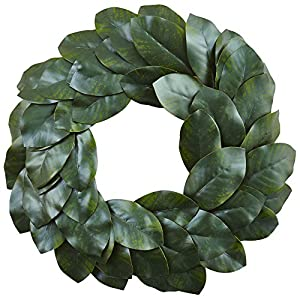 "Nearly Natural Magnolia Leaf Wreath, 24"", Green 80"