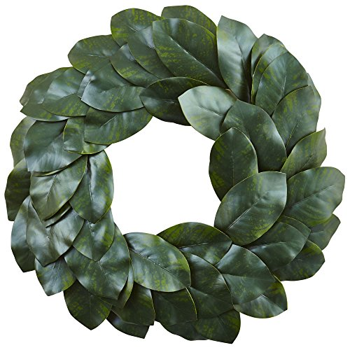 - Nearly Natural Magnolia Leaf Wreath, 24