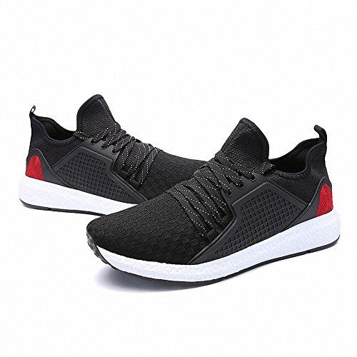 Ben Sports Calzado de correr hombre Tejida Zapatillas de Zapatos de cordones Calzado deportivo Negro