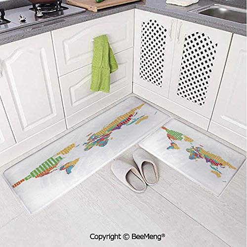 (2 Piece Indoor Modern Anti-Skid Carpet Printed Block Bathroom Carpet,World Map,Colorful High School Classroom Map with Names of Countries Teen Room Decor Print,Multicolor,20x31in,20x59in)