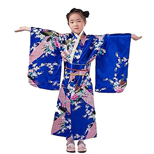 Japanese traditional dress kimono robe for kids girls costume(Blue120cm)