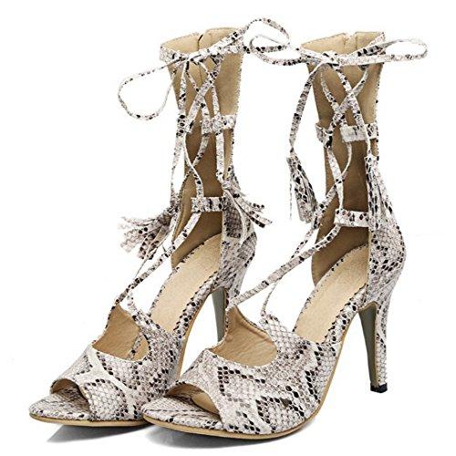 COOLCEPT Mujer Moda Elegant Tacon de Aguja Cross Strap Sandalias With Cremallera Blanco