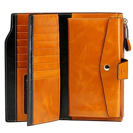 Itslife Women's RFID Blocking Large Capacity Luxury Wax Genuine Leather Clutch Wallet Card Holder Organizer Ladies Purse |