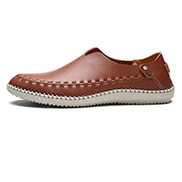 Ruanyi Zapatos Oxford de Cuero Genuino para Hombres, Mocasines clásicos con Cordones con Orificio Transpirable y cómodos (Color : Marrón, tamaño : 41 EU): ...