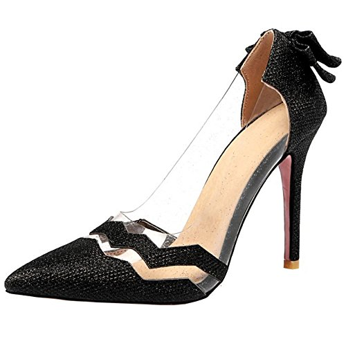 Mode Black Salon Zanpa Transparente Mujer Heels de zqx5YP