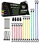RHINO USA Bungee Cords with Hooks 28pc Heavy Duty Assortment with 4 FREE Tarp Clips, Drawstring Organizer Bag, Canopy Ties & Ball Bungees - Highest Quality Bungie Cord Set on Amazon