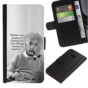 Billetera de Cuero Caso del tirón Titular de la tarjeta Carcasa Funda del zurriago para HTC One M8 / Business Style Einstein albert science quote smart man