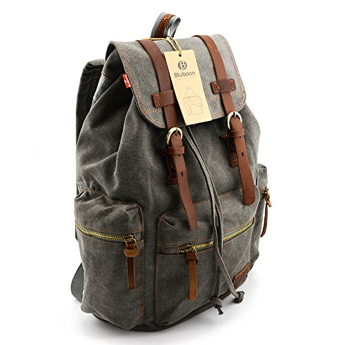 BLUBOON(TM) Vintage Men Casual Canvas Leather Backpack