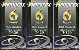 Memorex High Standard T-120 6-hour Video Cassette VHS HS - 3 Pack