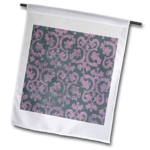 3dRose InspirationzStore Damask patterns - Grunge pink and grey damask - dark gray - faded fancy Victorian wallpaper swirls - vintage classic - 12 x 18 inch Garden Flag (Swirl Vintage Wallpaper)