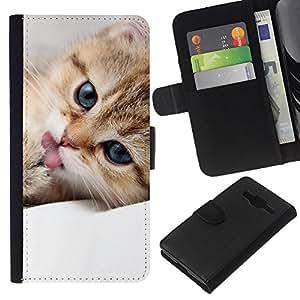Stuss Case / Funda Carcasa PU de Cuero - Maine Coon Kitten Cute Pet Feline - Samsung Galaxy Core Prime