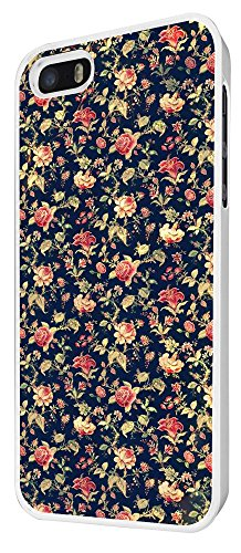 563 - Cute Vintage shabby Chic Floral Roses Navy Design iphone 5 5S Hülle Fashion Trend Case Back Cover Metall und Kunststoff - Weiß