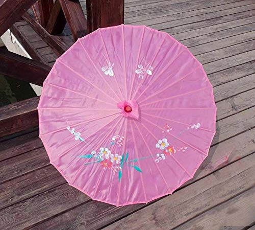 Umbrellas Painted Hand (Chinese Umbrella - 50pcs Lot Colorful Hand Painted Wedding Silk Parasol Chinese Umbrella - For And Holder Adult Blossom Decor Drink Gold Waterproof Party)