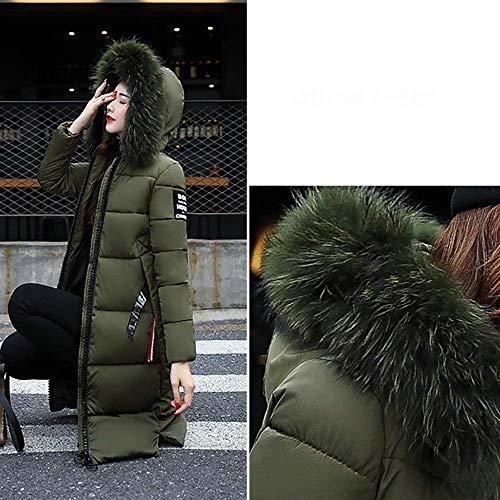 Hiver Zippé Femme Duvet Grande Doudoune De Manteau Tomwell Fourrure Taille Verte Longue Coton Avec Capuche Armée SwnCq0