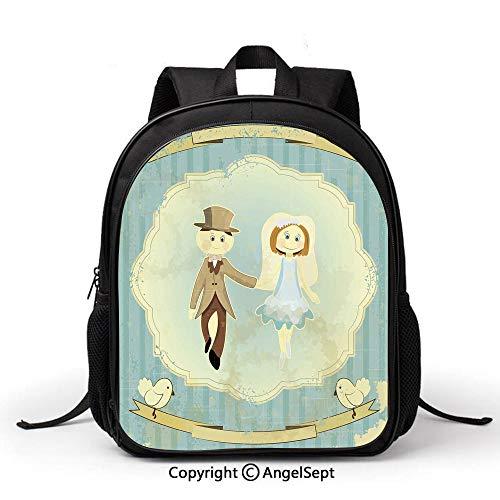 Book Bag Durable School Bags,Wedding Decorations,Vintage Retro Design Bride Groom Pigeons Ribbon Grunge,Slate Blue Avocado Green,Student Backpack Bookbags for Children