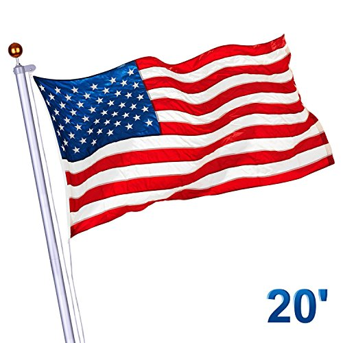 PD Master 25 ft Flags Kit Aluminum Banner Flag Pole 3'x5' US