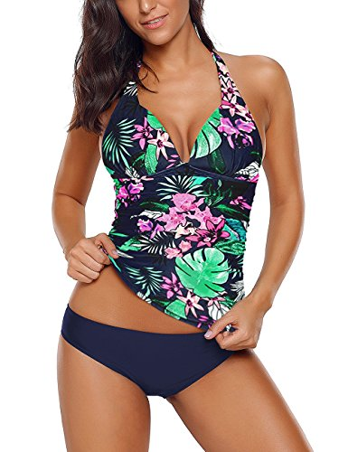 - ACKKIA Women's Floral Printed Halter Shirred Two Pieces Swimsuit Tankini Set Bikini Bottom Size XX-Large (US 18-20)