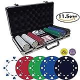 Poker Chip Set 300 - Suited Poker Casino Quality - 11.5 Gram Texas Holdem Chips with Black Aluminum case