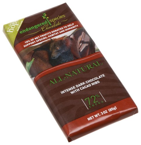 Endangered Species Chocolate , 3-Ounce Bars (4 Pack - Dark Chocolate with Espresso Beans) 2 FOR THE TRUE CHOCOLATE LOVER - Deeply powerful with lingering hints of fruit and spice, this bar, made from pure 88% cocoa dark chocolate, manages to stay silky smooth while packing undeniably rich cocoa flavor. HIGH QUALITY INGREDIENTS - Bittersweet Chocolate (Chocolate Liquor, Cane Sugar, Soy Lecithin, Vanilla). We believe that to craft premium world-class chocolate, there's no way around it: you need the best ingredients. Our clean, natural ingredients are selected for their quality and sustainability, with a dedicated team constantly focused on finding the ideal ingredients for maximum taste. NON-GMO, FAIRTRADE CHOCOLATE - We care about the farmers who grow the cocoa that we use in our products, and we're dedicated to supporting communities that practice sustainable farming practices. We commit to paying premiums so that you can be sure that our chocolate, made in America, uses fair trade cocoa that can be traced back to Fairtrade farms in West Africa.
