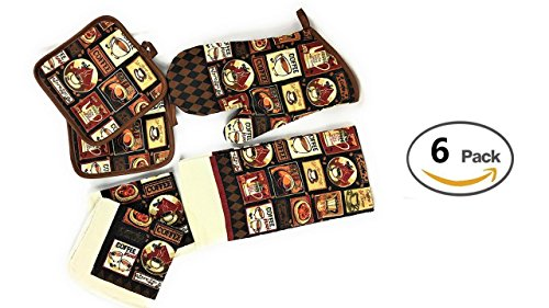 Kitchen Linens - Coffee Cafe - Towel Linen Set of 6 Pieces Coffee Themed Design - Kitchen Towel 2 Potholders 2 Scrubber Dishcloths 1 Oven Mitt - Linen Coffee Set -