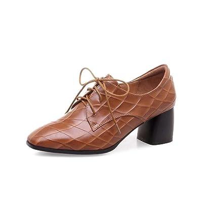Chaussures à Talons Hauts pour Femmes Square-Toe Cross Straps Chaussures Noir/Marron Taille 34-39 (Couleur : Marron, Taille : 36)