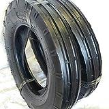TWO 500X15,500-15,5.00X15,5.00-15 RW 3 Rib Tractor Tires 6 PR w/Tubes