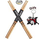 Sound harbor Drum Sticks 5A Wood Tip Drumstick, Maple, 2 Pair