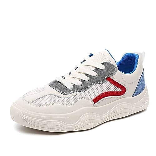 para Mujer Zapatillas De Deporte Chunky De Estilo Retro Deportivas Gimnasio De Carretera Corriente De Fondo Plano Malla Transpirable Zapatos Blancos: ...