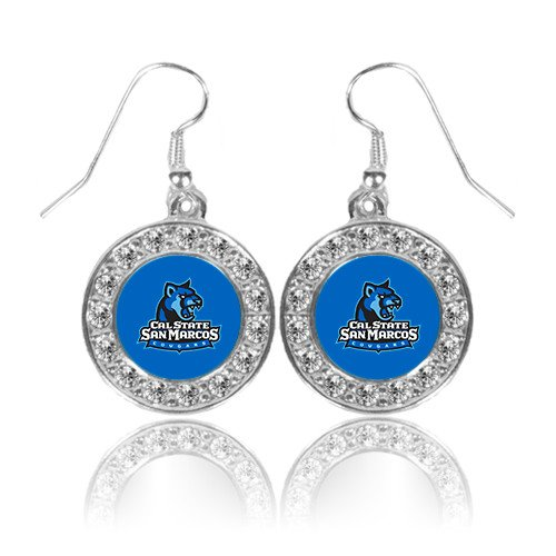 Logo Earrings Primary (Cal State San Marcos Crystal Studded Round Pendant Silver Dangle Earrings 'Primary Logo')