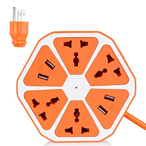Smart 4-Outlet with 4-USB Hexagon Creative Power Strip (Blue) - 1