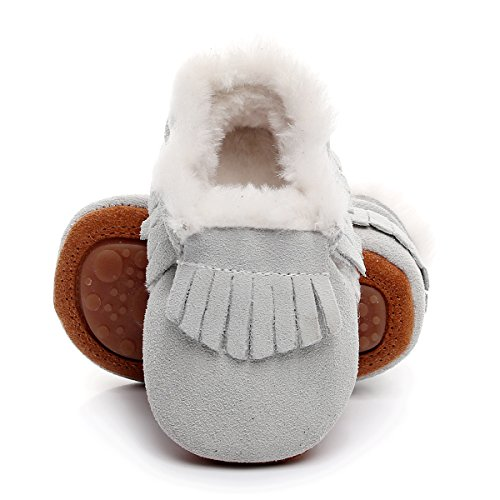"""Winter Suede Fleece Lined Rubber Soles Non Slip Warm Baby Boots Girls Boys Moccasins with Fur Hard Sole Baby Shoes (18-24m/5.71"""", White) ()"""